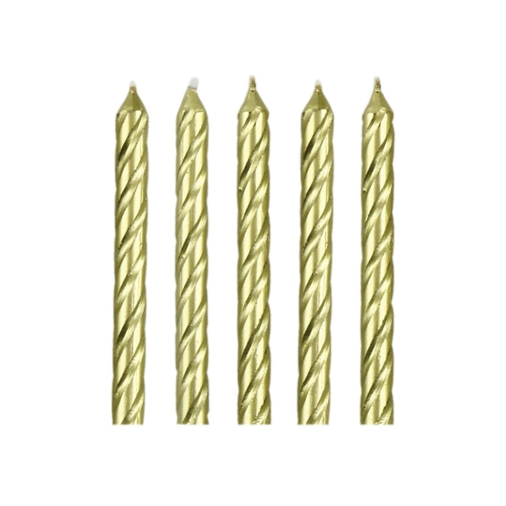 Gold Happy Birthday Candles With Plaque Set